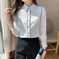 女士衬衫长袖2021春装新款职业衬衣面试正装上衣内搭打底雪纺衫