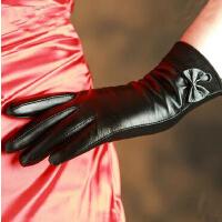 进口山羊皮韩版蝴蝶结女士手套可触 真皮手套女冬保暖加厚绒里