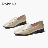 达芙妮2020春季新款乐福鞋女鞋粗跟平底单鞋女英伦风小皮鞋
