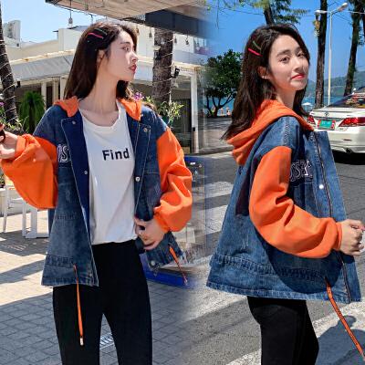 牛仔外套女2020春装新款宽松韩版BF学院风学生连帽牛仔衣褂服
