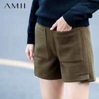 【满200减100 上不封顶】AMII[极简主义]冬纯色羊毛呢双口袋开叉百搭大码短裤11581874