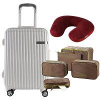 乐扣乐扣 铝框拉杆箱行李收纳袋旅行套装男女 LTZ991S6012 白色
