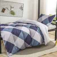 伊迪梦家纺 全棉三件套 简约纯棉斜纹床上用品单人学生宿舍被套床单枕套160*210cm