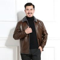 中老年外套 男士商务长袖翻领加绒加厚爸爸装冬季新款韩版男士时尚休闲舒适百搭皮衣