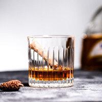 条纹威士忌杯 酒吧专用古典鸡尾酒杯 复古烈酒杯玻璃洋酒杯子