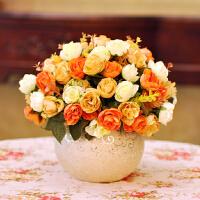 假花仿真花客厅 欧式玫瑰套装花瓶绢花卧室装饰花 餐桌花艺摆件