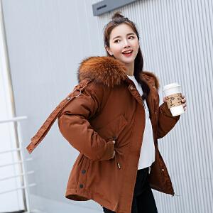 2018年秋冬季新款大毛领女装棉衣韩版短款羽绒服