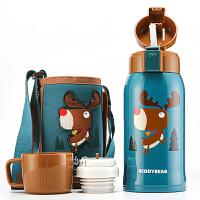 杯具熊 316不锈钢儿童保温水杯子600ML一杯双盖(吸管盖+组合倒水盖+杯套)吸管喝水壶 麋鹿水壶