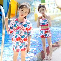 女童幼儿中大童可爱泳衣女游泳衣运动分体套装宝宝泳衣三件套