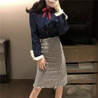 气质新款女装系带木耳边衬衫上衣+复古格子中长款包臀半身裙套装