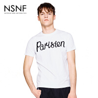 NSNF变型植绒字母男款T恤 白色 短袖男装2017新款 修身圆领针织短袖