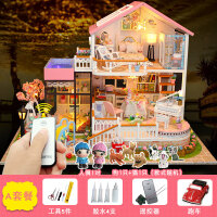 3d立体拼图木质玩具房子模型diy建筑模型大别墅女孩男孩 甜言蜜语 套餐一