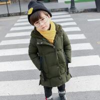 男童棉衣新款中长款加厚男宝宝儿童棉袄冬装外套潮衣韩版 军绿色-长款加厚棉衣 90码建议身高90cm左右
