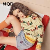 【1件3折:159】MQD童装女童加厚毛衣2019冬装新款儿童半高领满版保暖韩版针织衫