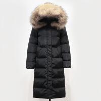反季韩版真毛领羽绒服女中长款过膝长款新款加厚大码冬装外套