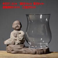 创意玻璃摆件和尚小花器家居装饰品茶桌绿萝花插花瓶陶瓷水培容器抖音
