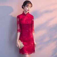 敬酒服新娘秋季2018新款红色结婚旗袍连衣裙女中国风短款婚礼礼服
