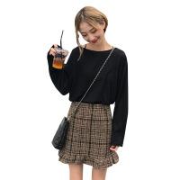 韩版时尚休闲套装秋季女装纯色打底衫长袖T恤+粗花呢半身裙两件套