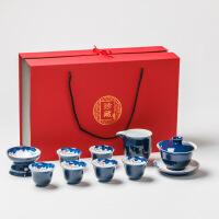 霁蓝手绘功夫茶具套装 家用简约陶瓷 景德镇 青花瓷茶艺茶壶茶杯*