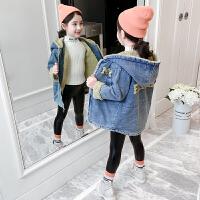儿童中长款上衣2019新款韩版洋气加绒加厚秋装女童秋冬装牛仔外套