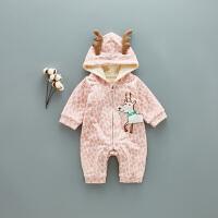 婴儿爬服新生婴儿连体衣秋季哈衣0-3岁新生儿爬爬服秋款宝宝满月衣服 春秋XM-4 粉色(18-6 TBB-16)