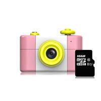 儿童相机 糖果色儿童照相机小孩防摔旅行录像玩具宝宝趣味摄影礼物 粉色套餐 送16g内存卡+挎包+贴纸