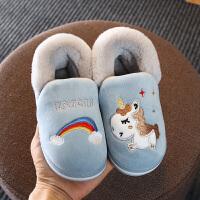 秋冬季儿童棉拖鞋包跟可爱中大童居家用男童女童小孩宝宝棉鞋