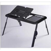 全黑色E-Table 双散热风扇笔记本电脑床上桌 折叠电脑桌 AD55