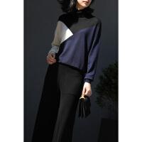 几何色块拼色小高领套头宽松长袖针织衫 青黑白 现货 X