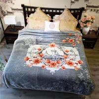 毛毯被子双层加厚云毯超柔保暖冬季结婚珊瑚绒双人床单定制 栗色 云梦灰【9斤】 200cmx230cm