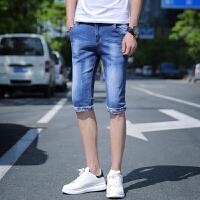 夏款韩版修身中裤牛仔短裤男装夏季薄款直筒修身休闲七分裤潮