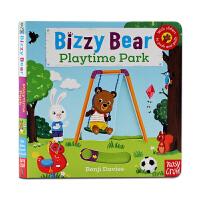 公园欢乐日 Bizzy Bear Playtime Park 小熊很忙系列英文原版绘本 纸板书 机关操作书抽拉游戏书