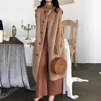 毛绒马甲女冬季长款背心2018新款韩版时尚修身保暖坎肩外套 均码
