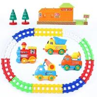 儿童拼装电动轨道车玩具套装火车小汽车宝宝1-3-5岁男孩礼物 卡通轨道车+房子/树木