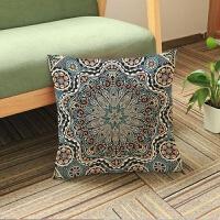 印度风曼陀罗花型涤麻抱枕套家居办公沙发靠垫套枕芯