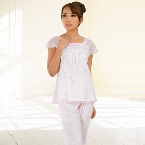金丰田夏季女士短袖蕾丝五分裤家居服睡衣套装1254