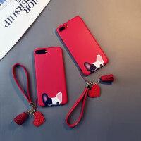 红色斗牛犬iphone6s plus手机壳苹果6硅胶8挂绳狗7卡通XR女Xs max潮中国风六七八日韩软套