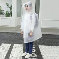 儿童雨衣男童女童学生上学带书包位小学生小孩中大童初中透明雨披