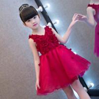 花童礼服女女童晚礼服蓬蓬纱红色钢琴演出服儿童礼服花童小主持人生日公主裙MYZQ58 酒红色