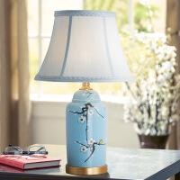 中式风格台灯创意圆筒个性现代简约客厅灯具餐厅卧室房间全铜台灯
