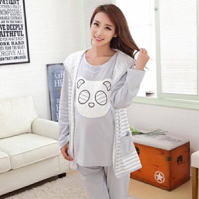慈颜 月子服孕妇哺乳坐月子家居服大码喂奶衣三件套 套装FJC711