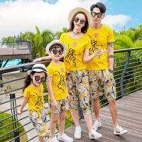 2019夏季新款潮一家三口女童春装棉短袖时尚母女母子装套装亲子装