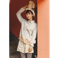 布衣酱设计小清新甜美娃娃领的毛衣女套头宽松针织衫 白色 现货