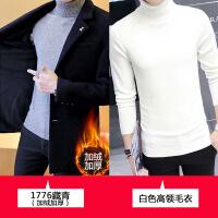 新款秋冬季外套男加绒加厚呢子大衣男士中长款风衣韩版修身帅
