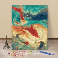 数字油画动漫 数字油画 手绘手工填色油彩画客厅动漫人物风景花卉装饰画B 白色 A118 40*50薄框(无外框) 画板