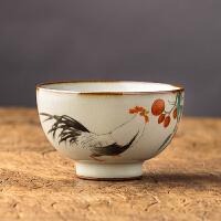 【优选】汝窑手绘品茗杯功夫茶杯开片可养景德镇纯手工陶瓷主人杯