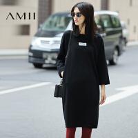 【1件8折/2件6折】AMII[极简主义]2017年春撞色印花破洞多色宽松大码棉连衣裙