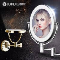 浴室化妆镜led带灯美容镜壁挂折叠伸缩镜子酒店卫生间双面梳妆镜