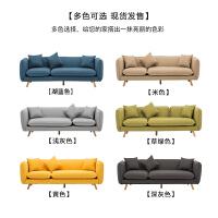 北欧单人双人三人沙发小户型全拆洗布艺卧室咖啡厅服装店铺沙发椅