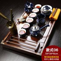 【新品热卖】紫砂功夫茶具套装家用茶杯简约家用实木小茶盘抽屉式茶台整套 18件